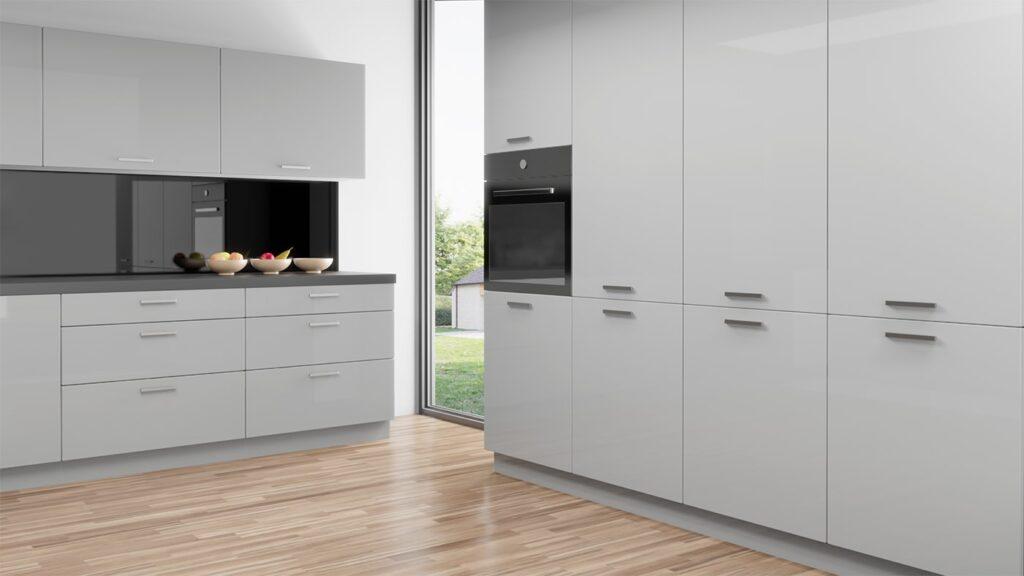 Ikea Faktum Kitchen, Pale Grey High Gloss Kitchen Units