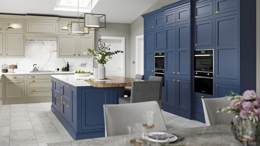Kitchen Doors for IKEA Faktum kitchens in Taupe and Parisian Blue